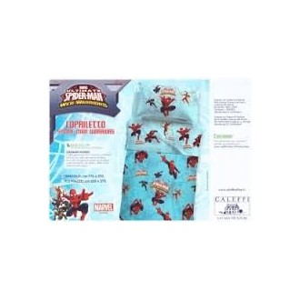 COPRILETTO SINGOLO PURO COTONE DISNEY SPIDER MAN WARRIORS